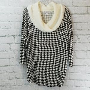 Kim Rogers Houndstooth Cowl Neck Sweater